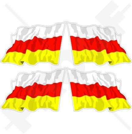 Südossetien ossetische Waving Flag 5,1cm (50mm) Vinyl bumper-helmet Sticker, Aufkleber X4