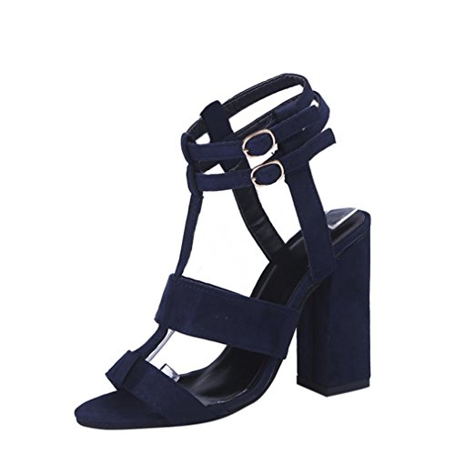 Hot Sale!Sandalen Damen, Sonnena Frauen Mode Damen Sandalen Knöchel High Heels Block Party offene Zehen Schuhe Flock/Solid/Basic/Buckle Strap/Knöchel/Round Toe/Rubber/Fashion/Super High (Sexy Blau , 38)