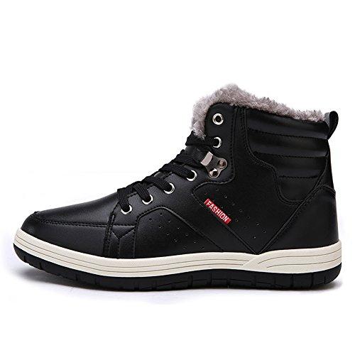 Laiwodun Herren Turnschuhe Schnee Stiefel Warm Leder Pelz Gefüttert Non Slip Casual Outdoor Stiefel High Rise Skateboarding Schuhe (Black-44)