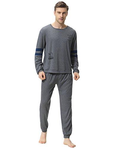 Aibrou Herren Schlafanzug Pyjama Baumwolle Lang Zweiteilig Nachtwäsche Set Langarm Rundhals Dunkelgrau