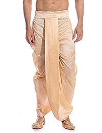 Larwa Men's Beige Free Size Dhoti