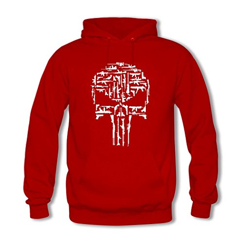weileDIY Punisher Skull DIY Custom Women's Printed Hoodie Sweatshirt Red_B