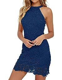 300e9029 Women Sexy Lace Slim Dress Elegant Sleeveless Sheath Bodycon Halter Collar  Mini Dress Cocktail Wedding Party