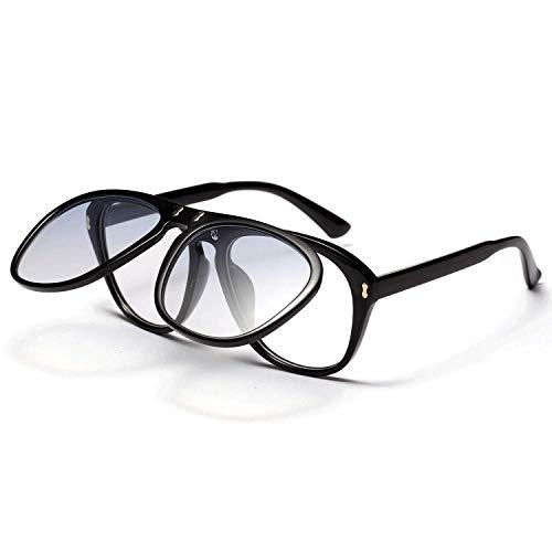 Doppelte Klappsonnenbrille für Damen Transparente Brillen mit großem Rahmen Europäische und amerikanische Retro-Brillen für Erwachsene