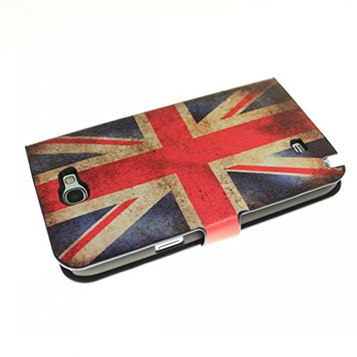 Retro British Uk Flag Wallet Luxury Leather with Credit Card Slots & Holder For Samsung GALAXY Note II 2 N7100