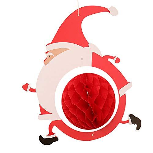 Weihnachtsbaum Wand Fenster Decke Kamin Dekoration Seidenpapier Wabenkugeln Anhänger DIY Ornamente Weihnachtsbaum Santa Rentier geformt -