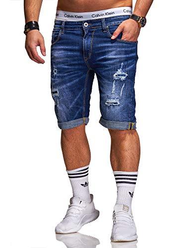 Rello & Reese Herren Destroy Designer Shorts Jeans Kurze Hose Sommer Bermuda (W34, 1903 (Blau))