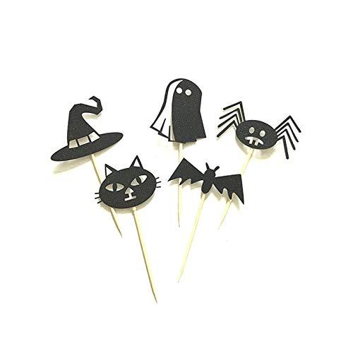Halloween Katze Geist Hut Bat Spinne Kuchen Topper Halloween Cupcakes Flags ()