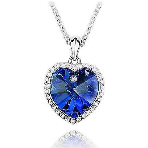 Everbling a forma di cuore dell'oceano, colore: blu scuro, con cristalli Swarovski Elements-Collana con ciondolo da 18
