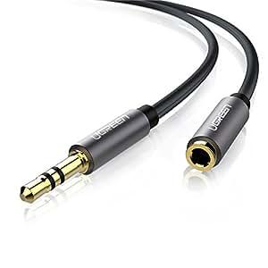 UGREEN Cavo di Prolunga Audio Stereo Prolunga Cuffie 3,5mm Maschio a Femmina per iPhone, iPad, Smartphone, Tablet, ecc, Custodia Alluminio, 15ft/5m, Nero