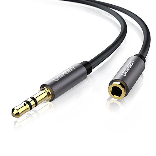 UGREEN Audio verlängerung Kabel 5M Stereo Klinken Verlängerungskabel Adapter 3.5mm Stecker auf Buchse für AUX Eingänge, Vergoldete Kontakte Kompatibel mit iPhone, iPad, Tablets, Kopfhörer usw, Schwarz