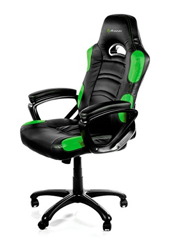 Arozzi Enzo Series Gaming Racing Style Swivel Chair, Black/Green