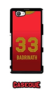 Caseque IPL Royal Challengers Banglore Badrinath Jersey Back Shell Case Cover For Sony Xperia Z1 Compact