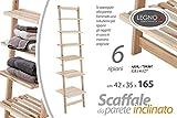 Mobile inclinato scaletta porta asciugamani bagno in legno 6 ripiani shabby chic 42 * 35 * 165 cm da appoggio AOX-759307