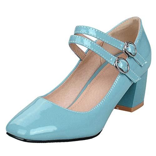 Artfaerie Damen Lack Mary Jane Riemchen Pumps mit Blockabsatz und Schnallen 6cm Chunky Heels Square Toe Schuhe (EU 40,Seeblau) Square Heel