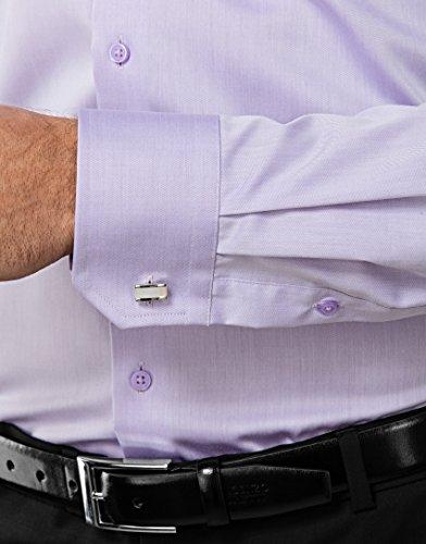 Vincenzo Boretti Herren-Hemd Bügelfrei 100% Baumwolle Slim-Fit Tailliert Uni-Farben - Männer Lang-Arm Hemden für Anzug mit Krawatte Business Hochzeit Freizeit Flieder