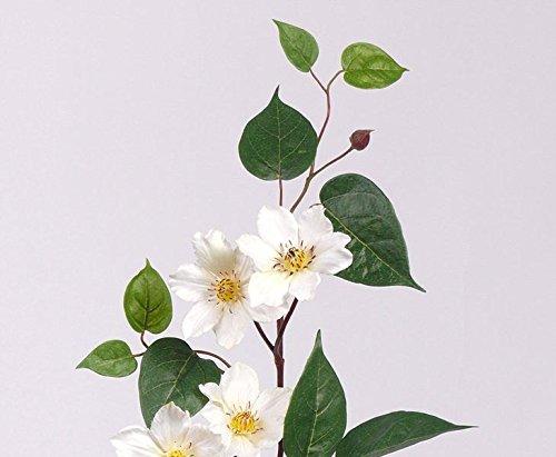 Kunstblume Clematis, mit 7 Blüten weiß, Höhe 80cm – Kunsblumen künstliche Blumen Kunstpflanzen künstliche Pflanzen Blumen