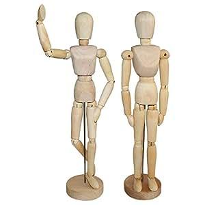 Hölzerne Mannequins - 30,48cm Menschliche Gliederpuppe aus Holz - Posierbare Modellpuppe mit Ständer - Holzpuppe, Zeichenpuppe, Modell Puppe, Holzfigur Zeichnen - Hölzerne Künstlerpuppe für Kunst / Körper Zeichnung