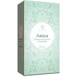 Matcha Kapseln Bio zertifiziert • hochdosiert 300 mg pro Kapsel • Vegan • Grün Tee Extrakt Pulver aus Japan, 60 Stück