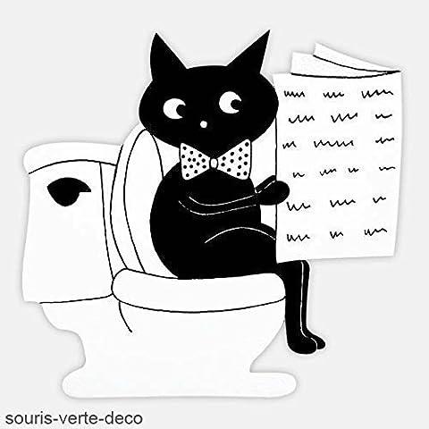 Plaque de porte de toilettes Chat noir et blanc humoristique et personnalisable