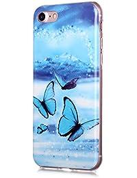 Fatcatparadise Funda para iPhone 6S/6 [con Protector Pantalla], Carcasa Silicona Claro de Luna Protector TPU Suave Ultra-Delgado Funda para Apple iPhone 6S/6 (4,7 Pulgadas)(Mariposa Azul)