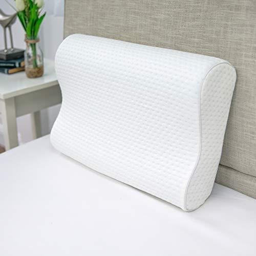 SensorPEDIC Luxury Extraordinaire Contour Memory Foam Nackenkissen mit belüftet iCool Technologie, Reisetasche für Jumbo-Größe, weiß