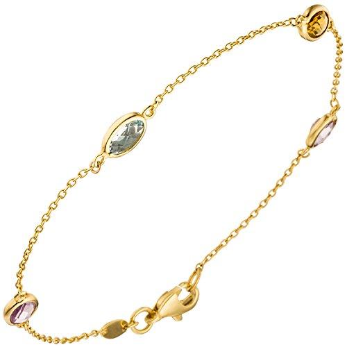 Armband Damen 14 Karat (585) Gelbgold einem Citrin und einem behandelten Blautopas Amethyst 2 1 Topas 19 cm Karabinerverschluss