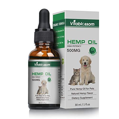 Hanföl für Hunde, Bio-Hanföl für Haustiere, Hanföl für Pats, ideal für Schmerzlinderung Angst | Beruhigung | Erholung von Tieren | Zuschlag für Gelenk & Hüften || Schmerz | Behandelt Haut | Schlafen
