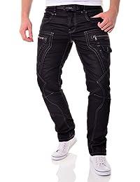 Black Jeans pantalones pantalones CIPO & Baxx de los hombres con estilo de las inscripciones y parches