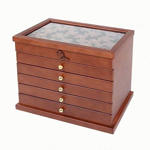 YMJJ Hölzerne Schmuckschatulle, Jewel Case Kabinett Ring Geschenk Aufbewahrungsbox Organizer, handgemachte Abdeckung Carving Multi-Layer-Aufbewahrungsbox,antiquecolor -