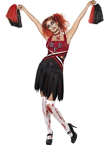 erdbeerclown - Damen Frauen Kostüm satanische Cheerleaderin mit Pom Poms im Horror Zombie Look, perfekt für Halloween Karneval und Fasching, XS, Rot