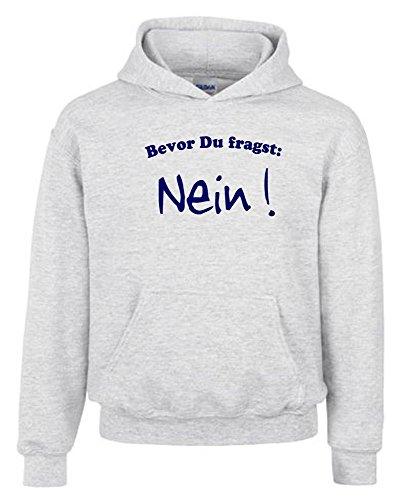 BEVOR DU FRAGST - NEIN ! Kinder Sweatshirt mit Kapuze HOODIE grau-navy, Gr.128cm