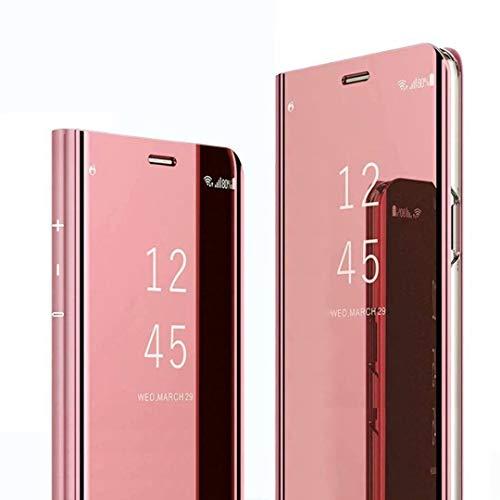 DYIGO Funda para Xiaomi Mi Mix 4 5G,Caja del teléfono Espejo,Hecha PC+PU Material Compuesto,Soporte Plegable,Elegante y único Carcasa(Rosado)
