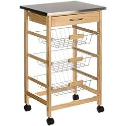 Premier Housewares - Carrito de cocina (madera de pino, parte superior de acero inoxidable)