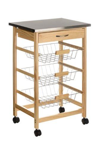 Premier-Housewares-2403027-Carrello-da-Cucina-Legno-di-Pino-Piano-in-Acciaio-Inossidabile-Cassetto-3-Cesti-Filo-Metallico-Ruote