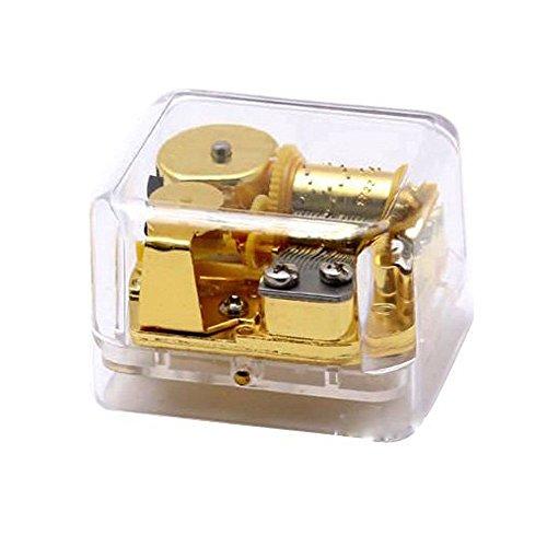 FnLy 18 Notas Creativas de acrílico Transparente Caja de música, Tema de la Bella y la Bestia, Caja Musical