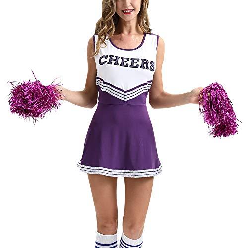 uirend Kostüme Erwachsene Bekleidung Röcke - Cheerleader Uniformen Damen Mädchen Kostüm Pompoms Karneval Halloween Outfit Cheerleading ()