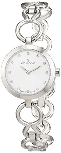 GROVANA 4569.1132 Women's Quartz Swiss Watch with White Dial Analogue Display and Silver Stainless Steel Bracelet