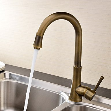 Furesnts Modern home bathroom and kitchen Taps Antique Brass Single Handle Deck Mounted kitchen Taps,(Standard G 1/2 universal hose