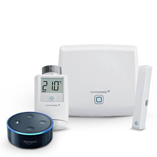 Homematic IP Starter Set Raumklima + Amazon Echo Dot (2. Generation), Schwarz
