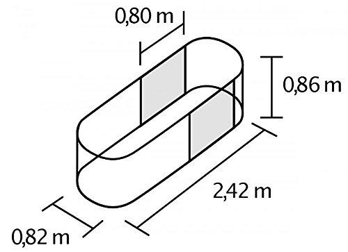 Hochbeet Basic Plus aus Zincalume® 1,8 m² Ziegelrot 0,82 x 2,42 x 0,86 m -