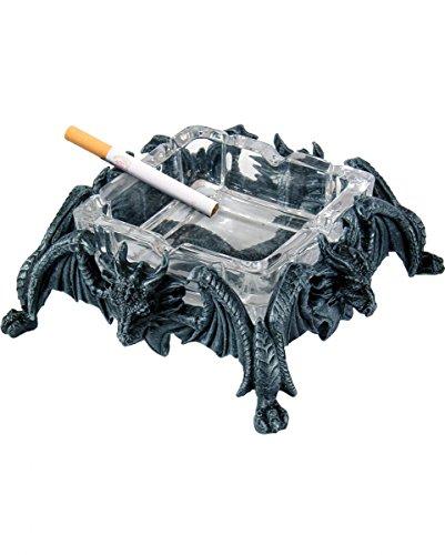 Zweiteiliger Drachen Aschenbecher mit Glaseinsatz für Gothic Fans