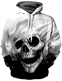 Lenfesh - Pull imprimé 3D Skull - Sweat-Shirt à Capuche à Manches Longues  Unisexe d06886e693a
