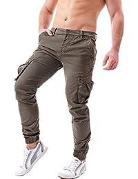Pantaloni Cargo Uomo con Tasche Laterali Militari Tasconi Polsino Zip alla Caviglia Slim Fit in Cotone Casual Ufficio W77
