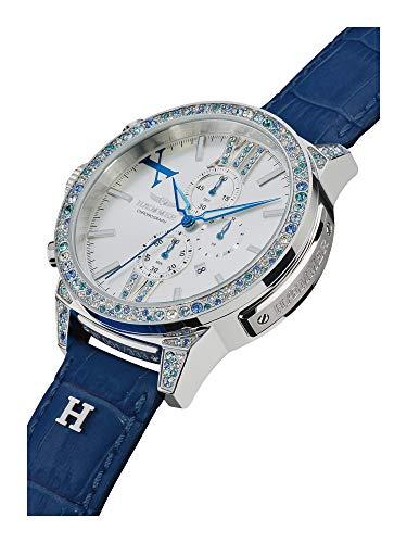 HÆMMER Haeven Damenuhr aus Edelstahl | Exklusiv Limitierte Damen-Uhr mit Kalbsleder Armband | Luxus-Uhr mit blauen Swarovski-Kristallen