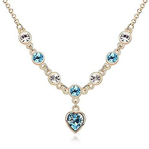 """TRESOR DEPOT Collana """"j? adore"""" placcato oro, con ciondolo con cristalli SWAROVSKI, memoria elemento nuovo consegna gratuita, colore: acquamarina, colore: blu"""