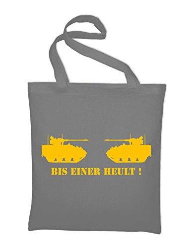 Bis einer heult Panzer Jutebeutel, Beutel, Stoffbeutel, Baumwolltasche, gelb Light Grey