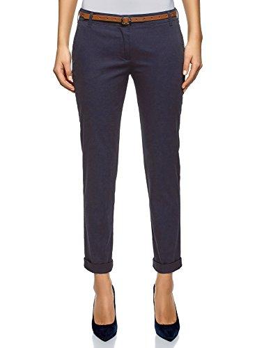 oodji Ultra Mujer Pantalones Chinos con Cinturón, Azul, ES 38 / S