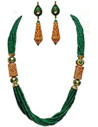 Akshita Creation Green Colour Beads Necklace Set For Women