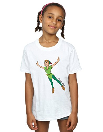 Disney Mädchen Peter Pan Classic Flying Peter T-Shirt 5-6 Years Weiß - Kinder Pan T-shirt Peter